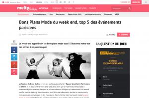 Bons Plans Mode du week end top 5 des événements parisiens meltyFashion
